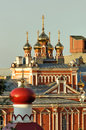 Domes churches of the Orthodox monastery in Samara Stock Photo