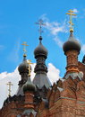 Domes and crosses the cathedral of the kazan mother of god monastery in the village of shamordino Stock Images