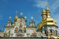 Domes of Kiev Pechersk Lavra Orthodox monastery Royalty Free Stock Photo