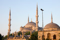 Domes minarets blue mosque sultan ahmet camii sunrise sultanahmet district istanbul turkey Stock Photo