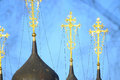 Domes of Orthodox church with golden crosses Royalty Free Stock Photo
