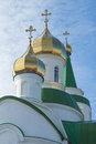 Domes of orthodox temple against the sky Royalty Free Stock Photos