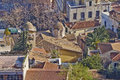 Domes and roofs at plaka old athens center under acropolis greece church house Stock Photo