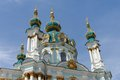Domes of the saint andrew orthodox church in kiev ukraine on sky background Stock Photos
