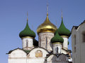 Domes of savior's transfiguration cathedral in suzdal green and gold onion beautiful the our savior inside st euphimius Stock Images