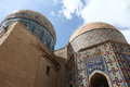 Domes of shakhizinda tiled the mausoleum complex samarkand uzbekistan Stock Images