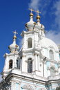 Domes of smolny cathedral in st petersburg russia Stock Photography
