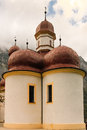 Domes of st bartholoma church konigssee germany bartholomew s red viewed from the lake Royalty Free Stock Photos