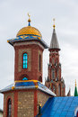 Domes of temple of an all religions. The village of Old Arakchino. Kazan, Tatarstan. Royalty Free Stock Photo