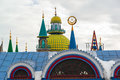 Domes of temple of an all religions. The village of Old Arakchino. Kazan, Tatarstan. Royalty Free Stock Photo