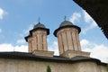 Domes three on romanian monastery orthodox religion Royalty Free Stock Images