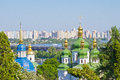 Domes of vydubychi monastery view from the national botanic garden on in kiev Stock Photo
