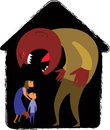 Domestic abuse monster man yelling at scared woman and child vector illustration Royalty Free Stock Photo