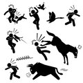 Domestic animal attacking human pictogram icon a set of representing animals dog bird goose cat horse and bull Stock Photos