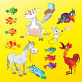 Domestic animals on a yellow background Royalty Free Stock Images