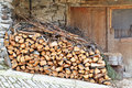 Domestic chopped woodpile rural scene Stock Photos