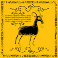 Domestic goat label woodcut Stock Photo
