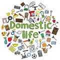 Domestic life illustration with several home related doodles Royalty Free Stock Photography