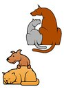 Domestic pets cat and dog in cartoon style for mascot or emblem design Stock Photo