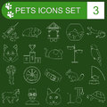 Domestic pets and vet healthcare flat icons set vector illustration Royalty Free Stock Photography