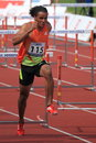 Dominic Berger - 110 metres hurdles race in Prague Stock Images