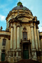 Dominican church, a priest and a beggar Royalty Free Stock Photo