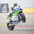 Dominique aegerter swiss rider makes a wheelie while greeting the people after qulifying practice in aragon motogp grand prix moto Stock Photos