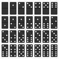 Domino black and white set board game tiles isolated on background Stock Image