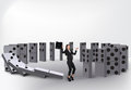 Domino effect isolated on white background Royalty Free Stock Photography