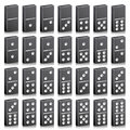 Domino Full Set Vector Realistic 3D Illustration. Black Color. Classic Game Dominoes Bones  On White. Top View Royalty Free Stock Photo