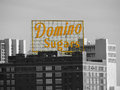 Domino sugars baltimore the famous yellow sign of the sugar factory in maryland Stock Image