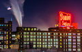 The domino sugars factory at night in baltimore maryland Stock Image