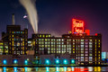The domino sugars factory at night in baltimore maryland Royalty Free Stock Image