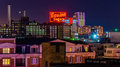 Domino sugars factory at night from federal hill baltimore maryland the Stock Photography