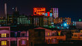 The domino sugars factory at night from federal hill baltimore maryland Stock Images
