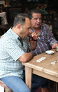 Domino and turkish tea in istanbul men playing drinkng turkey Royalty Free Stock Image