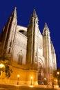 Domkyrka av Majorca i den Palma de Mallorca natten Fotografering för Bildbyråer