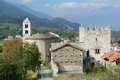 Domus fortis and romanesque bell tower of san giorio to italy Stock Images