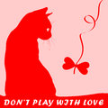 Don n play with love cat s silhouette heart shaped toy for kitten Royalty Free Stock Photo