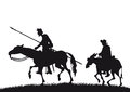 Don quixote and sancho panza an illustration of silhouettes of Royalty Free Stock Photography