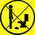 Don't Pee on Floor Warning Sign Royalty Free Stock Images