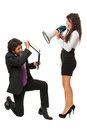 Don t shout a gorgeous businesswoman yelling at a businessman with a megaphone Stock Photos
