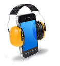 Don t speak too loud in phone smartphone with ear protectors speaking concept Royalty Free Stock Images