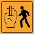 Don`t walk, pedestrian stop sign on yellow background Royalty Free Stock Photo