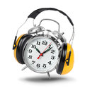 Don t want to wake up alarm clock ringing with hear protectors isolated concept Royalty Free Stock Photo