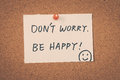 Don t worry be happy words Stock Photo