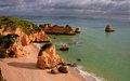 Dona ana beach lagos portugal in algarve stormy day Stock Image