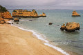 Dona ana beach lagos portugal in algarve at sunset Royalty Free Stock Photography