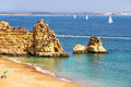 Dona Ana beach in Lagos, Portugal Royalty Free Stock Photo