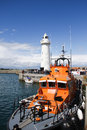 Donaghadee Lifeboat and lighthouse Royalty Free Stock Photo
